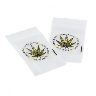 Buste con chiusura zip 'In Weed We Trust'