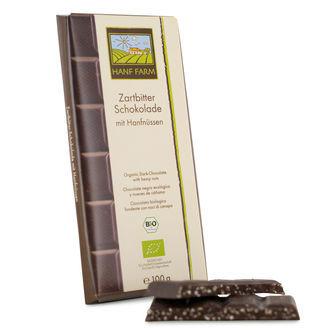 Biologische Zartbitterschokolade mit Hanfnüssen