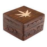 Wooden Stashbox with Leaf