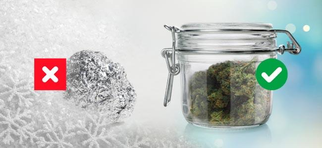 Einfrieren Vs Luftdicht Schließenden Gläsern Cannabis