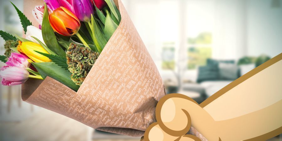 Valentistag Cannabisblütenstrauß