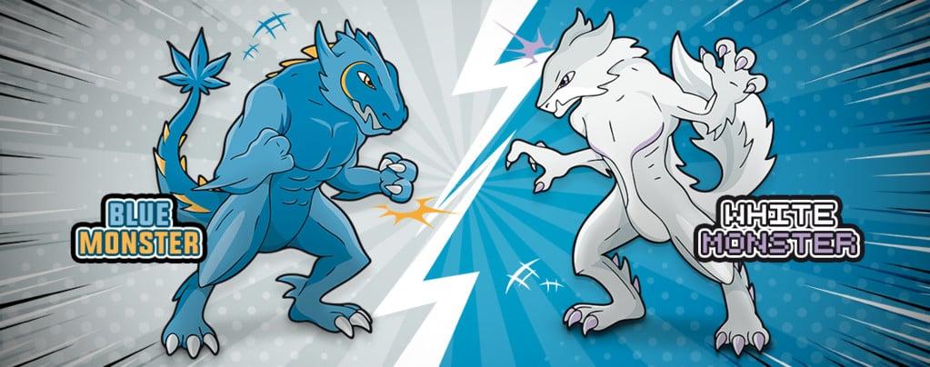 Blue Monster vs. White Monster: der Kampf des Jahrhunderts