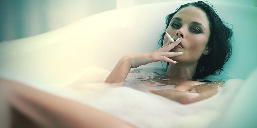 stoners love to have a smoke in the bath