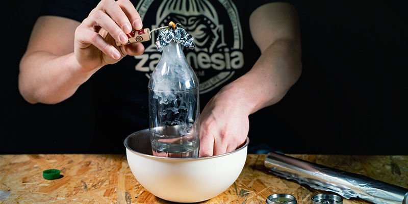 Waterfall gravity bong: Hold a flame to the bowl and release the rush hole