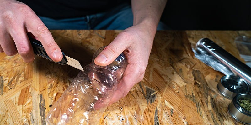 Gravity bucket bong: Cut The Bottom Off The Bottle