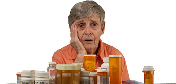 Old woman with medicines