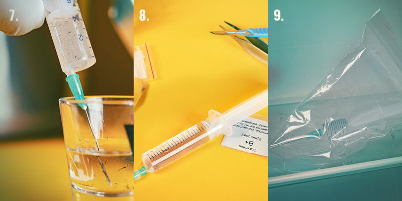 Spore Syringe Step-By-Step Directions: Steps 7-9