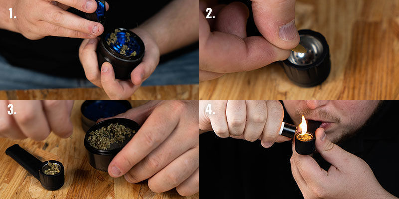 Smoking Cannabis From a Pipe, Step 1-4